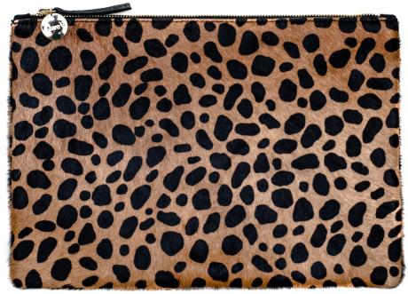 Clare Vivier Animal Flat Clutch in Leopard Hair