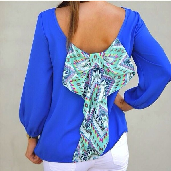 blouse bow back shirt blue shirt long sleeves bows bow back pattern cute dress style