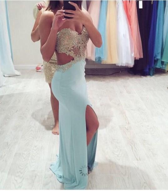 dress blue prom dress gold want