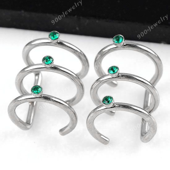 Stainless Steel Green Crystal 3 Hoop Earring Studs Cuff Bone Cartilage Piercing | eBay