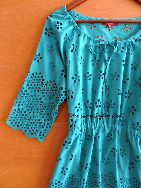 LARGE TRUE BOHEMIAN FLORAL CUT OUT CROCHET SOLID/TEAL CASUAL BEACH COTTO SHIRT