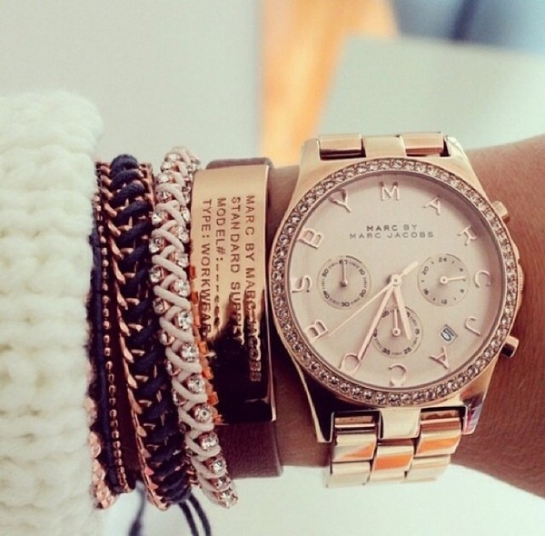 jewels watch bracelets stacked bracelets leather bracelet marc by marc jacobs bracelets jewelry silver gold black marc jacobs watch gold watch watch set bracelets gold bracelet marc jacobs belt gorgeous marc jacob bling gold marc rose gold watch marc jacobs
