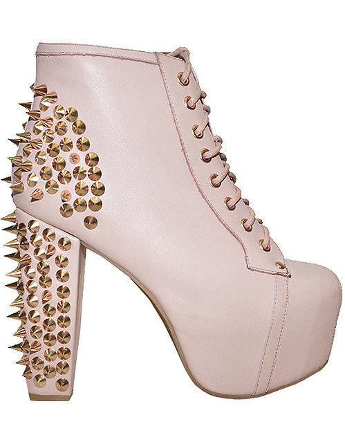 New Jeffrey Campbell Lita Nude Pale Pink Rose Gold Spikes 8 5M | eBay