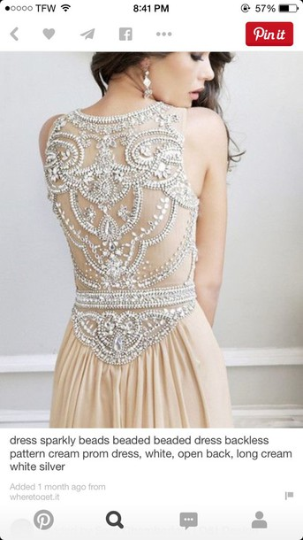 dress sparkle cream prom dress