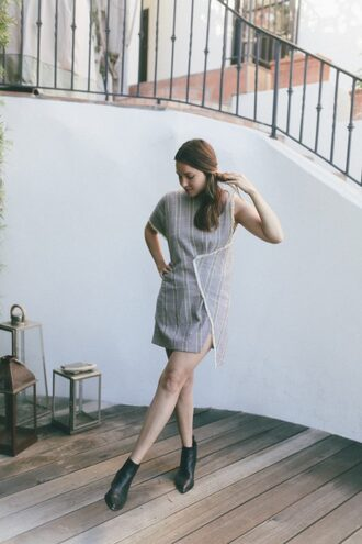 becauseimaddicted blogger shoes grey dress mini dress black boots wrap dress striped dress asymmetrical dress asymmetrical short dress pointed boots ankle boots