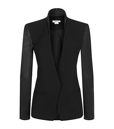 Helmut Lang Wool and Leather Blazer | Harrods