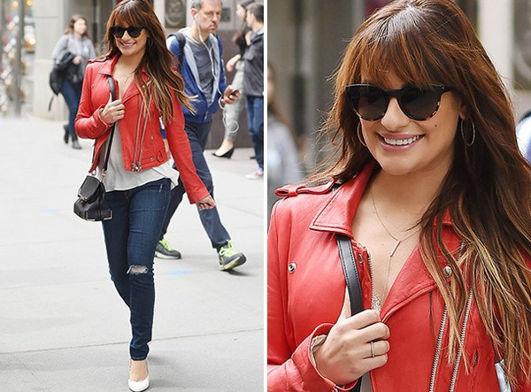 jeans lea michele shoes bag top