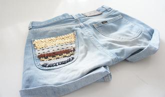 shorts jeans light blue embellished pocket striped pocket sequins gold sequins light blue jeans