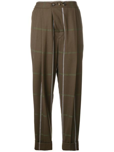 Vivienne Westwood women plaid cotton wool brown pants
