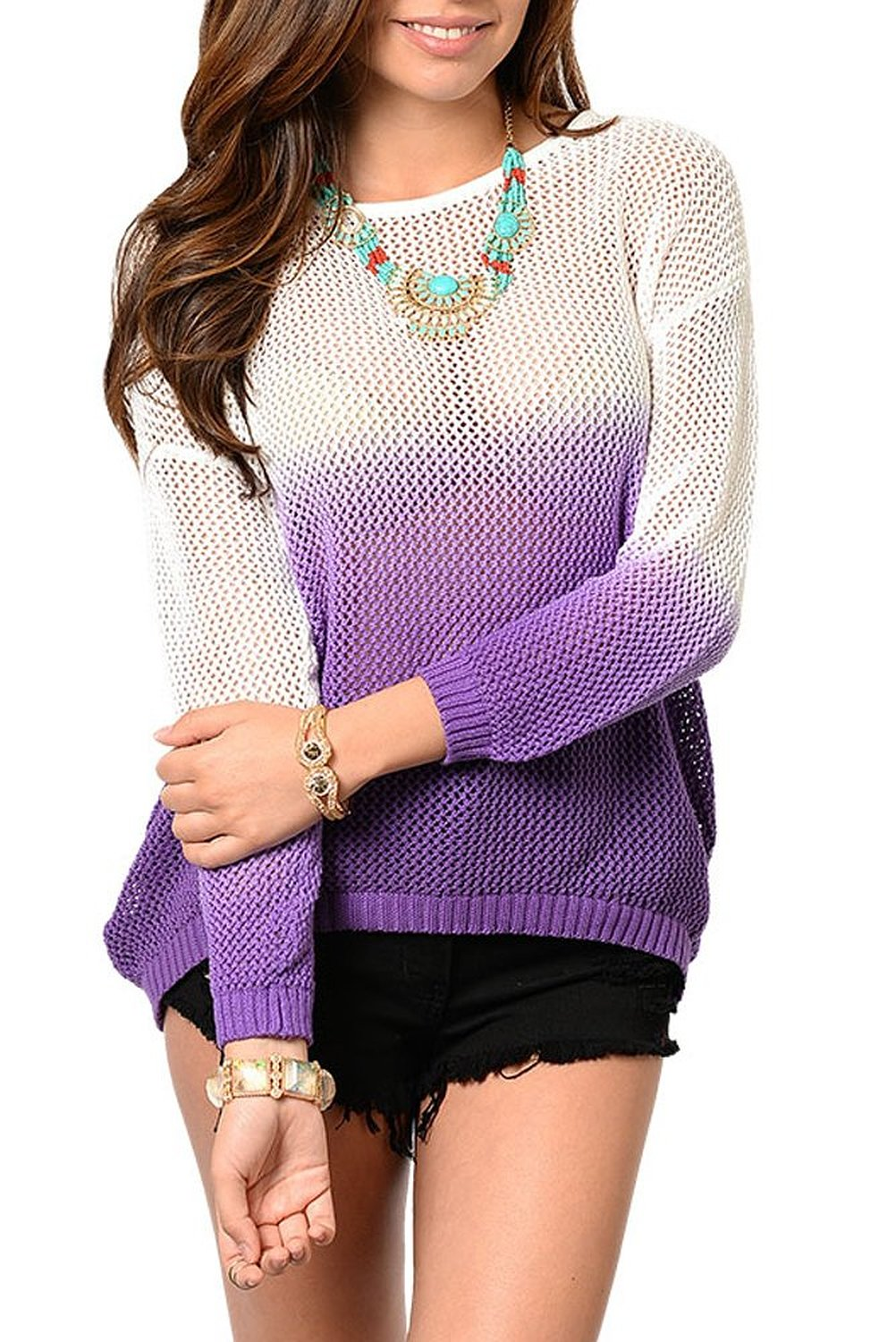 Dhstyles women's trendy sheer ombre knit sweater top at amazon women's clothing store: