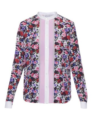 shirt floral print silk white top
