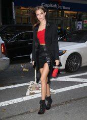 skirt,mini skirt,josephine skriver,model off-duty,top,fall outfits,victoria's secret model,victoria's secret,coat,ankle boots