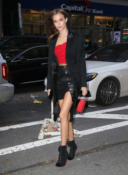 skirt mini skirt josephine skriver model off-duty top fall outfits victoria's secret model victoria's secret coat ankle boots