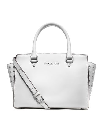 MICHAEL Michael Kors  Medium Selma Top-Zip Grommet Satchel - Neiman Marcus