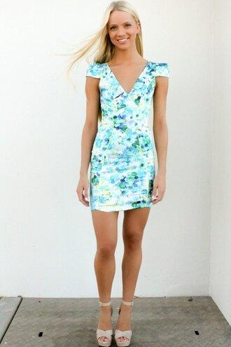 dress floral ustrendy dress ustrendy bodyconn dress spring dress summer dress cap sleeves