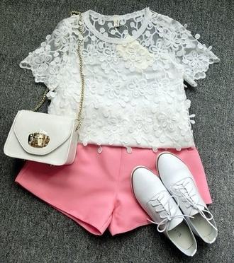 blouse floral white lace flower flower lace shoes shorts