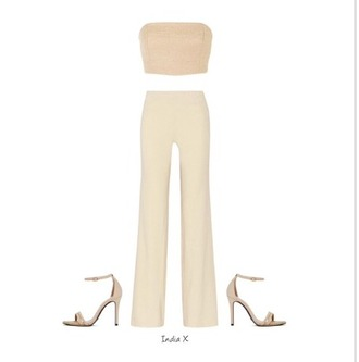 pants beige beige shoes beige top and beige shoes beige top nude nude heels nude high heels nude pants nude top