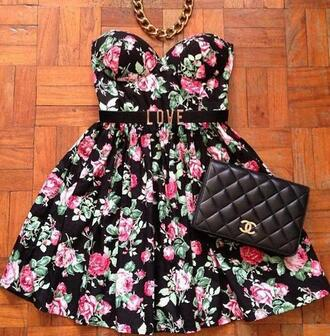 dress flare dress chanel bag floral flowers floral dress fit-and-flare bikini black dress belt strapless dress sweetheart neckline roses chanel short dress gold chain bag pouch