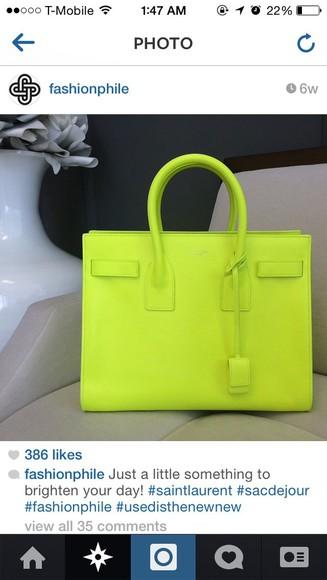 neon vibrant yellow bag satchel bag purse handle
