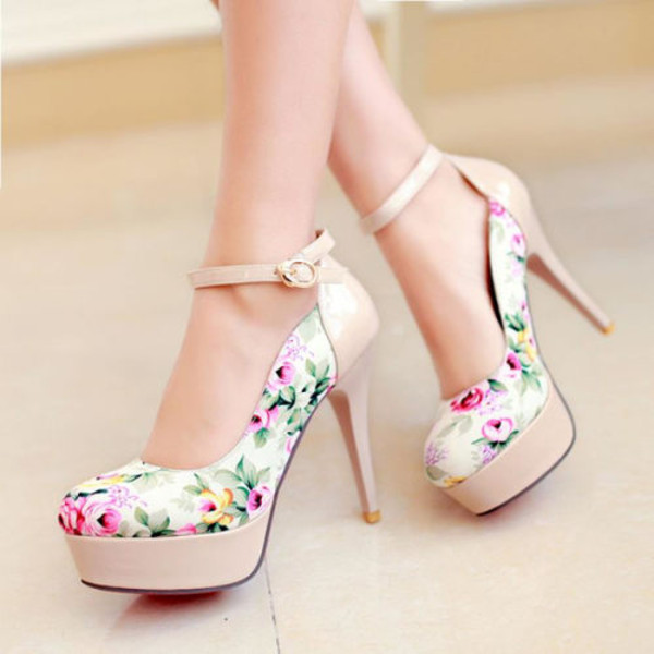shoes white high heels flowers