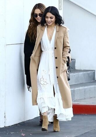 dress boho dress maxi dress vanessa hudgens boots ankle boots fall outfits camel camel coat shoes