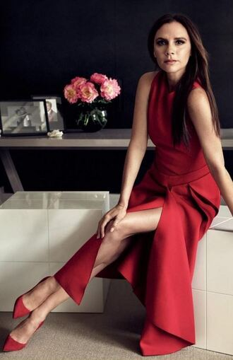 dress red dress red pumps victoria beckham editorial slit dress shoes