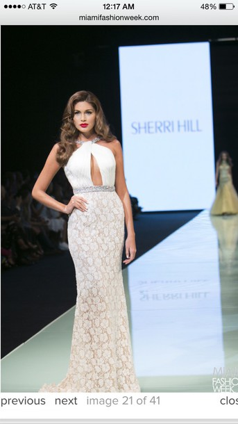 dress white dress lace dress sherri hill