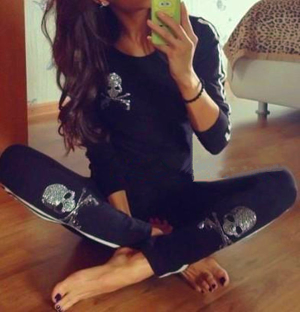 sweater skull set sport suits skull sweatshirt
