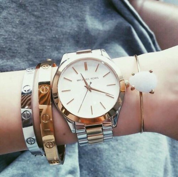 jewels watch micheal kors watch gold jewelry bracelets stacked