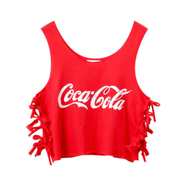 tank top coca cola fringes red