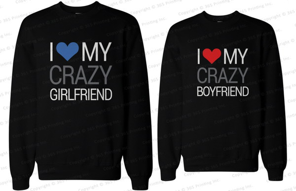bf and gf crazy boyfriend crazy girlfriend matching couple sweatshirts matching sweatshirts for couples matching couples couple sweaters couple sweaters his and hers clothing matching couples i love my boyfriend shirt i love my girlfriend shirt his and hers sweatshirts