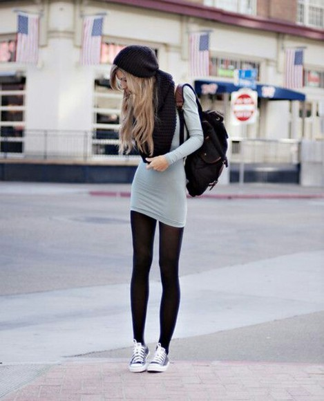 gray shirt scarf beanie long sleeve dress dress bodycon dress