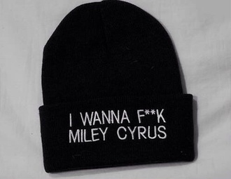 hat black clothes sweater miley cyrus fuck off