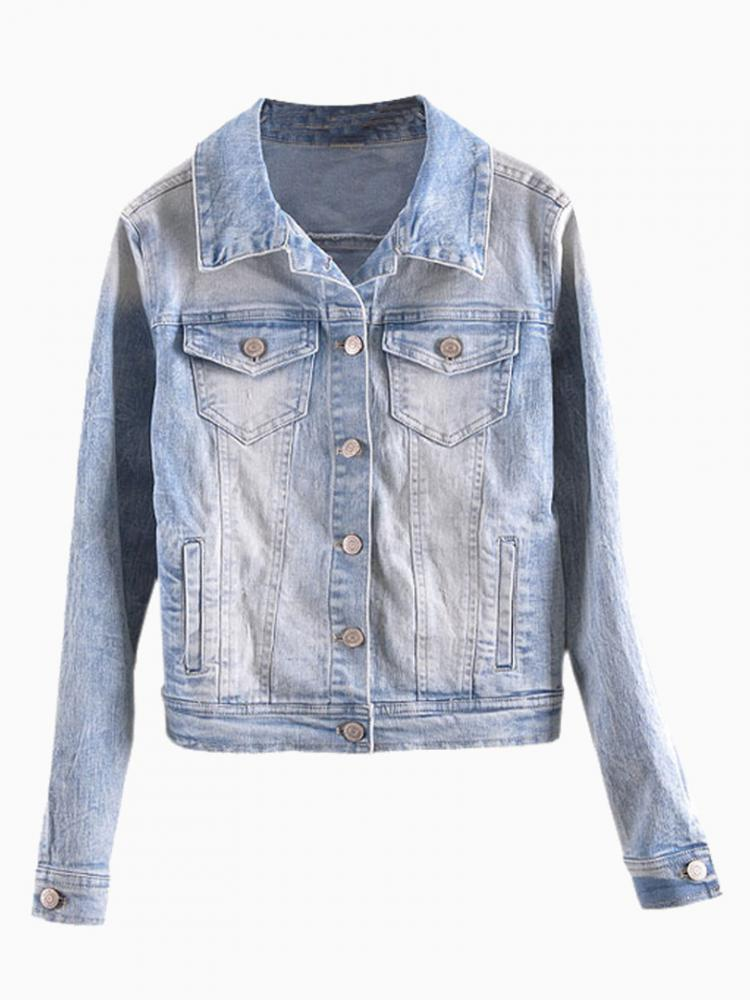 Jacket In Washed Denim | Choies