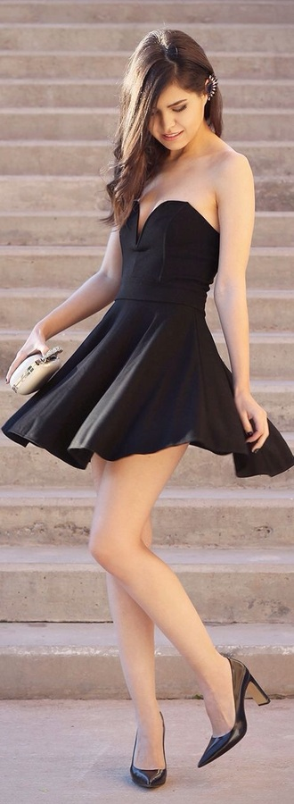 dress skater dress cute dress black dress black heels