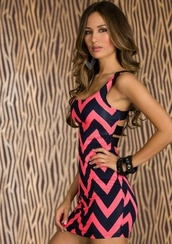 dress,black,pink dress,pink,zigzag,tank dress,chevron,chevron dresses