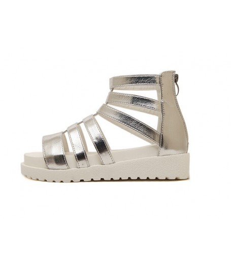 875ac96d183 Korean Silver Strappy Buckle Platform Sandals