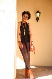 pinksole,blogger,sunglasses,jewels,cardigan,top,leggings,shoes,bag,lace top,shoulder bag,ankle boots