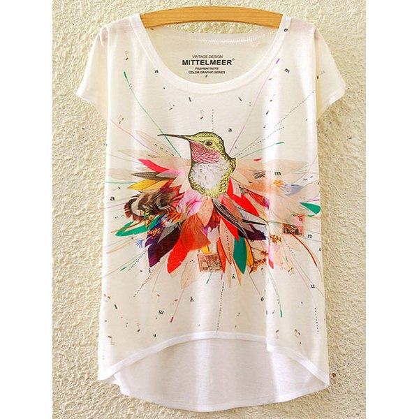 Brief Scoop Neck Bird Print High Low Short Sleeve T-Shirt For Women