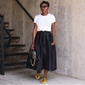 skirt,black skirt,silk,midi skirt,mules,white t-shirt,handbag,sunglasses,earrings