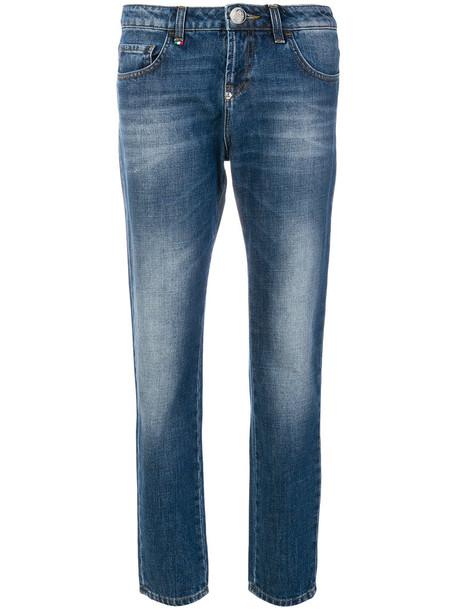Philipp Plein - fade effect jeans - women - Cotton/Polyester - 28, Blue, Cotton/Polyester