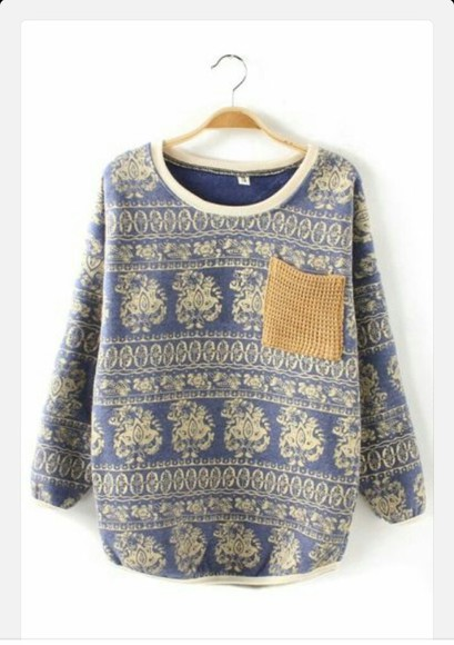 stripes aztec blue jumper
