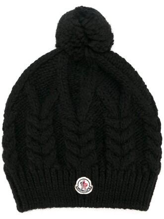 knit women beanie black wool hat