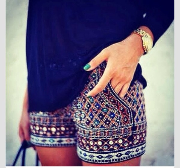 shorts embroidered shorts black green blue embroidered gold silver studded colorful pattern
