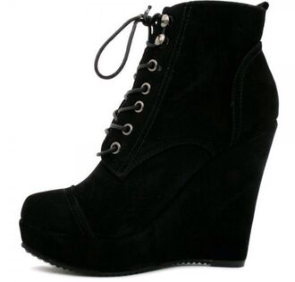 vintage style fashion hipster boots classy laces black and white suede suede boots wedges ankle boots cute shoes lace up lace-up shoes black ankle boots