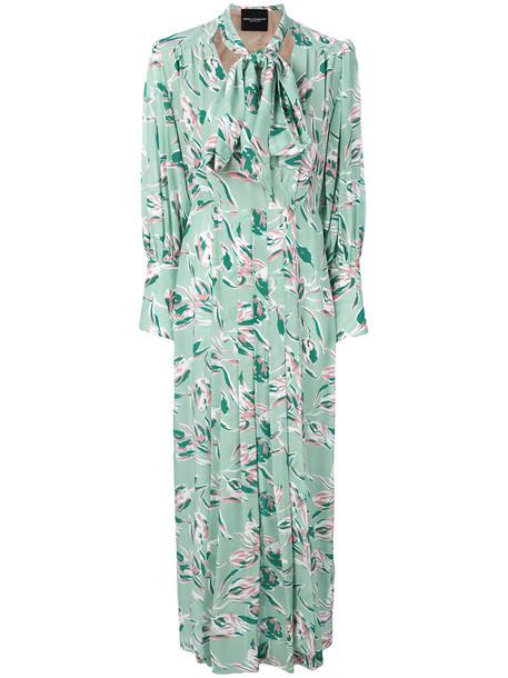 Erika Cavallini dress bow dress bow women floral print silk green