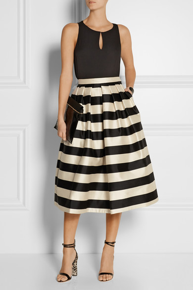 Escalante striped silk-satin midi skirt | NET-A-PORTER.COM