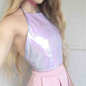 skirt,top,tank top,holographic,kawaii,kawaii grunge,pastel,pastel pink,choker necklace,grunge,pink,blonde hair,pastel goth,90's shirt,crop tops,white crop tops,pastel shirt,white skirt,pink skirt,crop,joanna kuchta,soft grunge,blouse,shirt,pink shiny halter,halter top,holographc,pale,tumblr,pale grunge,jewels,t-shirt,holographic top,halter neck,halter crop top,hipster,vintage,90s style,summer,summer outfits,iridescent,pretty,fashion,light pink,oil slick shirt,pink shirt,oil slick tank,light pink tank,dark grunge,tie shirt,light pink tie shirt,oil slick,purple,pastel purple