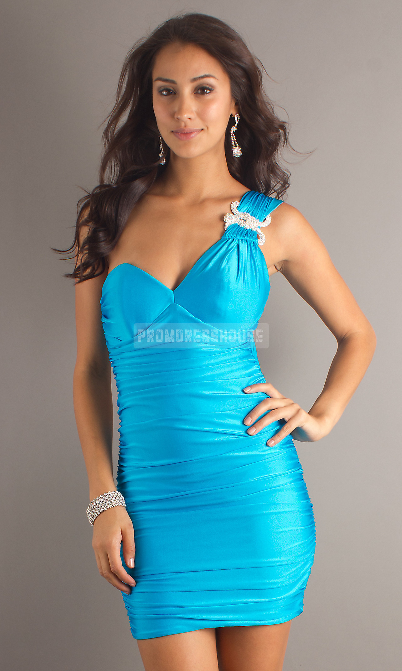 Sheath Elastic Sleeveless Short Length -like Keyhole Back Brooch Prom Dress - Promdresshouse.com