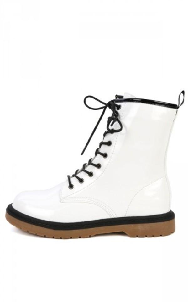 Wild Diva Raven-01 White Patent Combat Boots | MakeMeChic.com